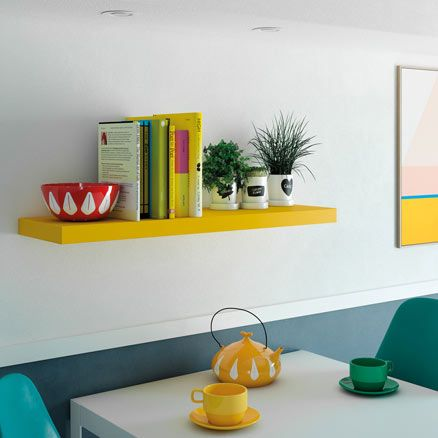 Estante Mural Rectangular En Color Amarillo De 23 0x3 8x23 0 Cm Y Carga Máx De 3 Leroy Merlin Estante Color Amarillo Madera Mdf