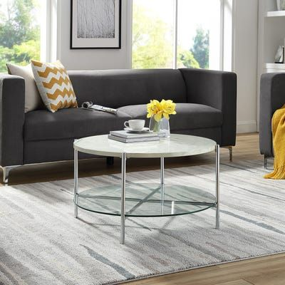 White Faux Marble Chrome Round Coffee Table In 2020 Coffee