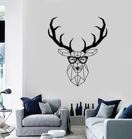 Vinyl Wall Decal Hipster Polygonal Deer Animal Living Room Home Decor Stickers Mural Ig5579