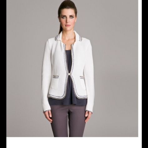 Les Copains Blue Stunning Jacket Beautiful Les Copains Jacket. Butter Color with grey and gold chain detail around jacket and pockets. Size 10. Never Worn sadly! Perfect Condition. Les Copains Jackets & Coats