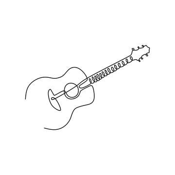 Continuous Line Drawing Acoustic Guitar Music Instrument Vector Illustration Minimalist Design Line Art Drawings Line Doodles Line Drawing