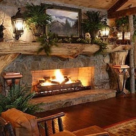 99 Inspiring Rustic Christmas Fireplace Ideas to Makes Your Home Warmer. Is this a gas fireplace. Country Fireplace, Cabin Fireplace, Rustic Fireplaces, Christmas Fireplace, Fireplace Mantels, Rustic Christmas, Fireplace Ideas, Mantle, Stone Fireplaces