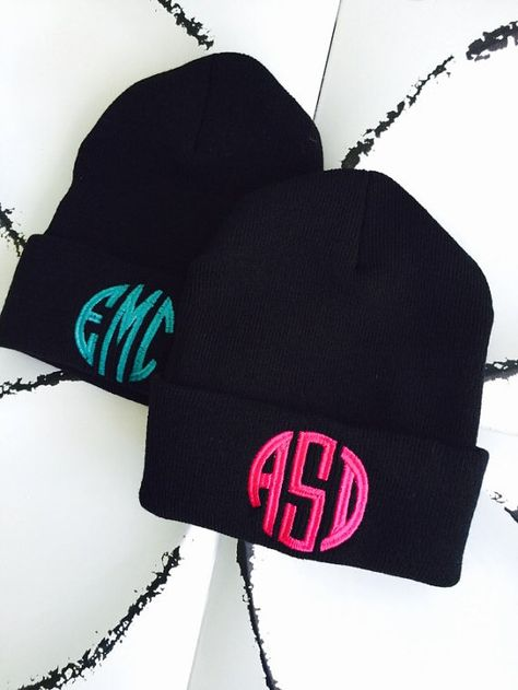 456bc028b MONOGRAM Beanie Embroidered Slouchy Hat Custom Name by ColorChaos ...