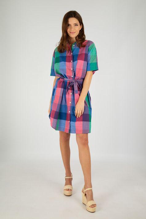 Robe Chemise A Carreaux Heritage Coton En 2020 Robe Chemise Chemise Carreaux Et Robe A Carreaux