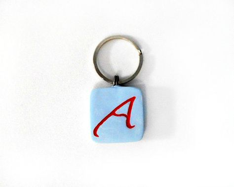Atheist Symbol Key Ring Inlaid Red A Scarlet By Cicadaartjewelry