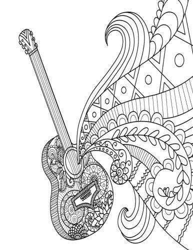 Blank Book Journal Guitar Zentangle Cover Diary Notebook 8 5 X 11 Si Diary Journal Book Music Coloring Coloring Pages Coloring Books