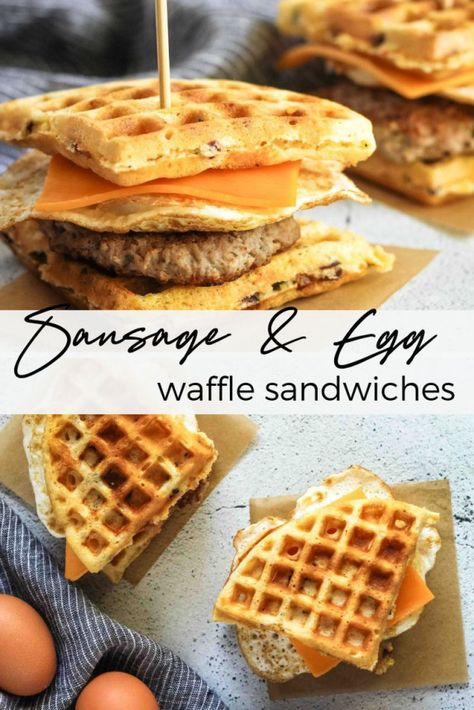 Wondering what to make with leftover waffles? These Sausage and Egg Waffle Sandwiches are the perfect breakfast sandwich for lazy weekend mornings #brunch #wafflerecipes #breakfastsandwich #nutrition #nutrition #blog