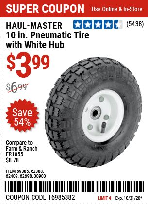 Haul Master 10 In Pneumatic Tire With White Hub For 3 99 Harbor Freight Tools Harbor Freight Coupon Coupons