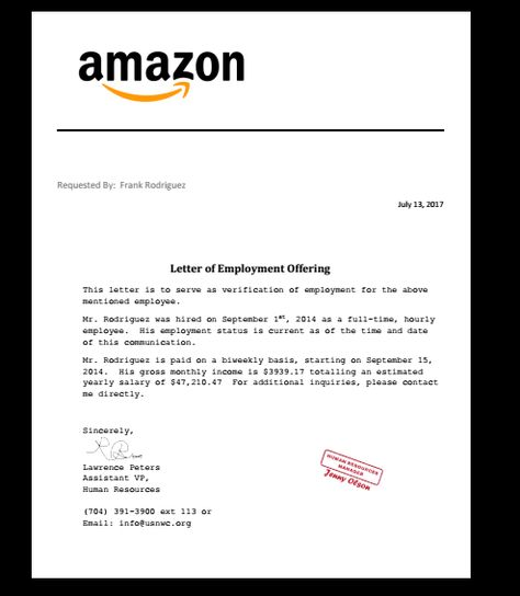Letter, Employment Verification - invitation letter for us visa notarized