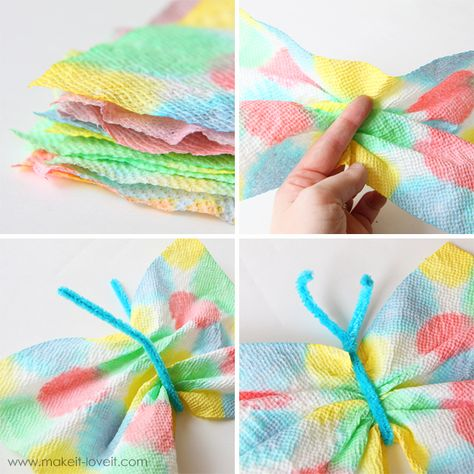 Paper towel butterfly with symmetrical spots of color...simple idea for a bulletin board or spring craft