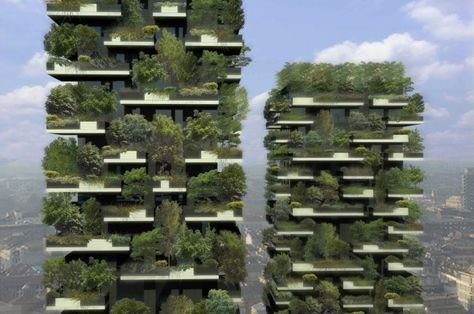 Milan's Vertical Forests: When complete, the skyscrapers will contain luxury apartments, each one equipped with a copious balcony specially designed to hold around 900 small trees and other plants. If planted on the ground the total vegetation would cover an area of 10,000 square metres.
