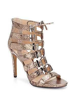 37e2c78e6 Vince Camuto Freshi Caged Lace-Up Leather Sandals - Bronze - Size ...