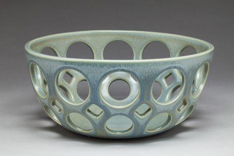 Ceramic Bowl - This fruit bowl was wheel thrown and hand pierced. The mossy glaze is flecked with translucent blue crystal formations. Food and dishwasher safe. Ceramic Fruit Bowl, Ceramic Pinch Pots, Ceramic Clay, Clay Pinch Pots, Clay Bowl, Ceramic Vase, Pottery Pots, Slab Pottery, Glazes For Pottery