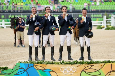 Gold medal medalist's Karim Laghouag, Thibaut Vallette, Mathieu Lemoine and Astier Nicolas of France pose during the medal ceremony for the eventing team jumping final on Day 4 of the Rio 2016 Olympic Games at the Olympic Equestrian Centre on August 9, 2016 in Rio de Janeiro, Brazil.