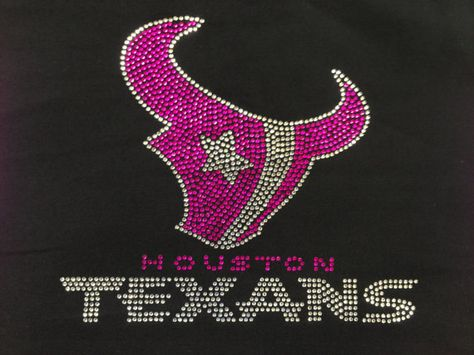 Rhinestone Transfer Pink Houston Texans Bull Houston Texas