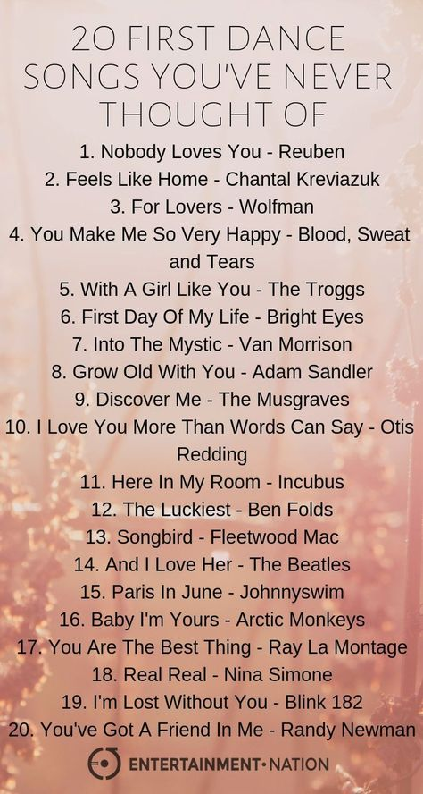 20 First dance songs you've never thought of! wedding songs Unique First Dance Songs Unique First Dance Songs, First Dance Wedding Songs, Wedding Music, Dream Wedding, Dance Songs Party, Unique Wedding Songs, Wedding Ideas, Old Dance Songs, Wedding Recessional