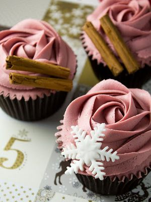 Mulled wine cupcakes. I'll never get the icing to look this good, but they still sound tasty.