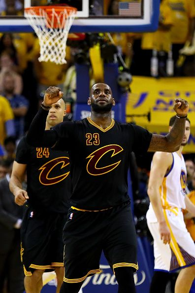 LeBron James of the Cleveland Cavaliers celebrates in the final