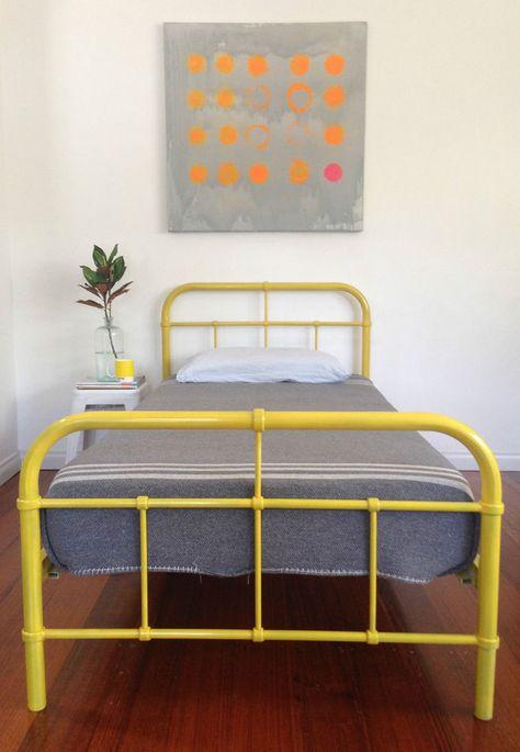 Industrial Metal Single Kids Bed Frame Retro Vintage Hospital Style Sao Designs Single Bed Frame Kids Single Beds Single Metal Bed Frame