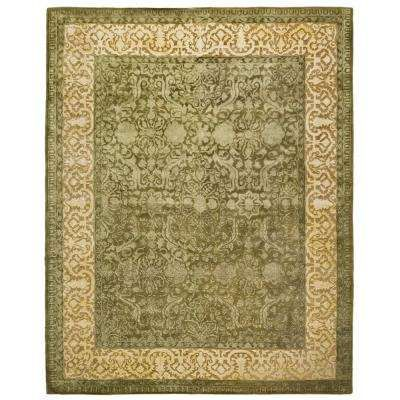 Silk Road Spruce Ivory 6 Ft X 9 Ft Area Rug Oval Area Rug Rugs Green Area Rugs
