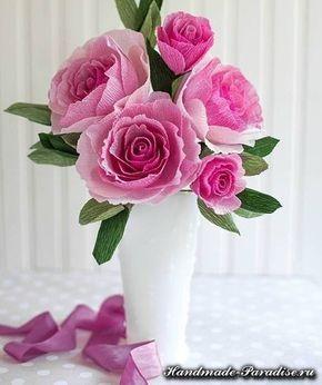 Buque De Rosas De Papel Crepom Rosas De Papel Crepom Flores De
