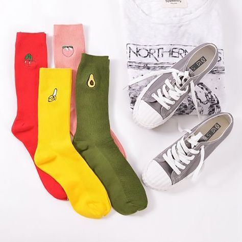 Fashion Women Girls/' Cartoon Warm Cotton High Socks 3D Fruit Embroidery HosieryF