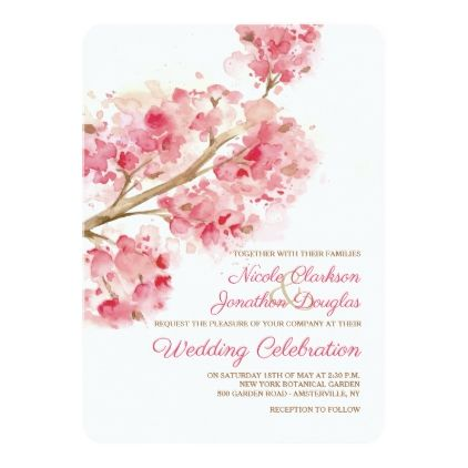 Watercolor Cherry Blossoms Wedding Invitation Zazzle Com Pink