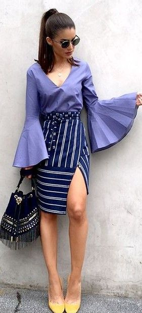 5613206b07bd0 Bell Sleeve Purple Top + Striped Skirt Source