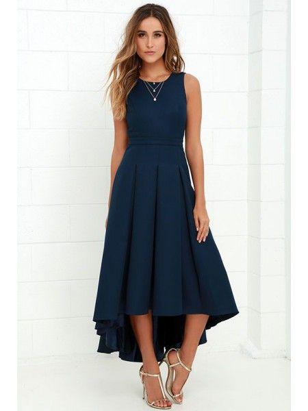 Outlet Dazzling High Low Dresses Dresses Blue Navy Blue Dresses Blue High Low Dress Bridesmaid Dress Styles Fashion Dresses