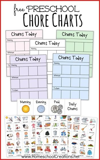 Homeschool Creations has a FREE Chore Chart System for preschoolers. This is great because it includes pictures for toddlers that cannot read. She also incl