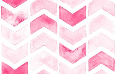 Pink chevron with white background  Watercolor seamless