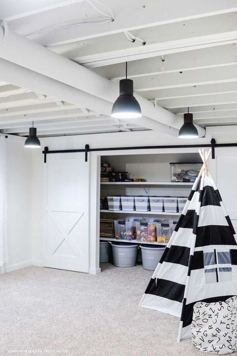 Playroom Organization: Favorite Storage Ideas - Simply Kierste Design Co. Small Basement Remodel, Basement Laundry, Basement Renovations, Home Remodeling, Organized Basement, Basement Closet, Basement Living Rooms, Basement Walls, Basement Flooring