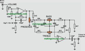 Hi-Fi Bass, Treble, Presence Tone Control Circuit