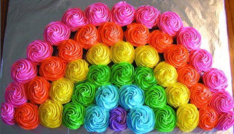 Cupcake Rainbow Recipe: You need at least 24 cupcakes to create a cupcake rainbow. It's easy to create and decorate.