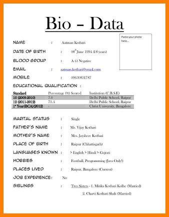 Image Result For Bio Data Word Format Devasingh Resume