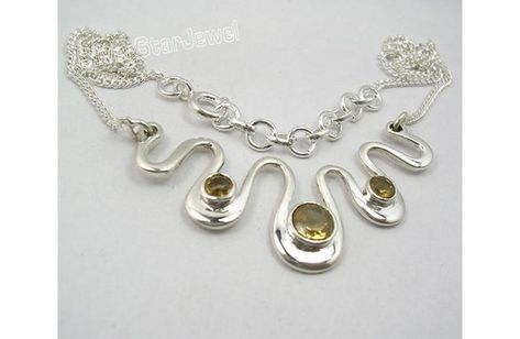 Solid 925 Pure Silver Classic Yellow Color Real CITRINE Gemstone ARTISAN Curb Chain Necklace World C