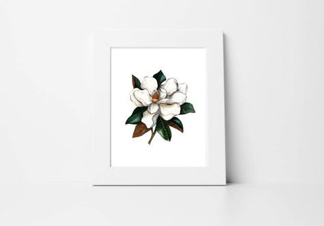 This is a print of an original hand painted watercolor of a magnolia. This makes a great addition to your home or office. This fine quality print is printed on a sturdy and thick matte 120# smooth accent cover stock paper from a local print shop in El Paso, TX. The vibrant and true to life colors are identical to the original piece. (Frame is not included with your purchase of a print.) 8 X 10 inchesWatercolorPrintCOPYRIGHT 2019. ALL RIGHTS RESERVED. When Beauty Met Truth & Lauren SantosYou