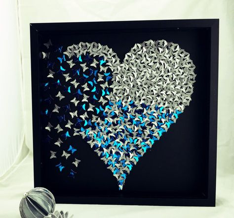 3D Butterfly heart  3d paper art  butterfly by MoncraftWallArt