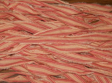 25 Piece Red /&Tan Homespun Fabric Strips For Primitive Tags Ties Or Crafts