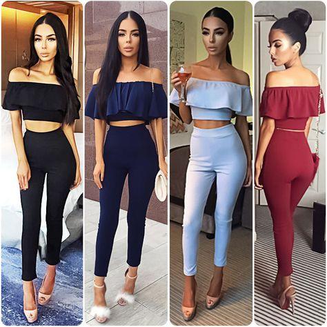 7084d813759e Women Romper Off Shoulder Flounce Crop Top Skinny Long Pants Two Piece  Jumpsuits