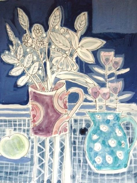 Original Watercolour/acrylic Pen Painting 'Still life with Spotty Jug' Signed