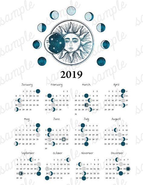 2019 Moon Phase Calendar Vintage Sun Moon Equinox Solstice Astronomy Space Celestial Boho Astrology