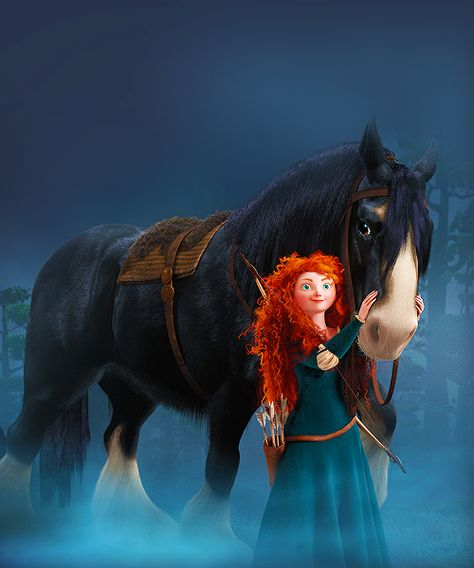 cindymayweather: Black as night with ivory muzzle and fetlocks, Angus is Merida's powerful Clydesdale and her most trusted confidant. (source)