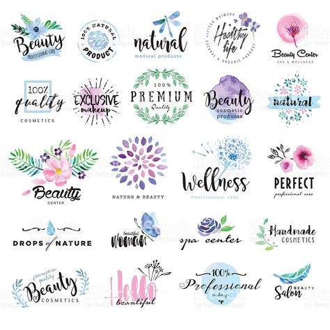 Set of hand drawn watercolor labels and badges for beauty, healthy. Set of hand drawn watercolor labels and badges for beauty royalty-free stock vector art