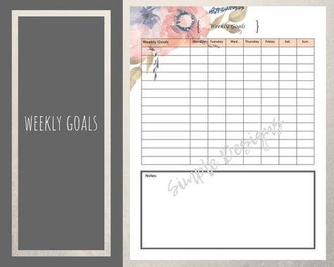 list of pinterest fitness tracker printable monthly goal settings