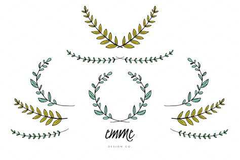 Hand-Drawn Branches & Leaves Vector by Emme Design Co. on Creative Market