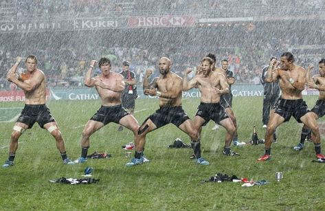 The New Zealand rugby team celebrated their recent win in the Sevens tournament in Hong Kong. I miss Rugby
