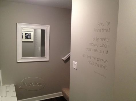 """""""Mindful Gray"""" Sherwin Williams paint color -- vinyl lettering can add a focus to a small wall."""