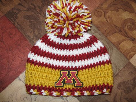 a7df7a828 Crochet Beanie Baby Hat (Minnesota Gophers) Embroidered Logo ...