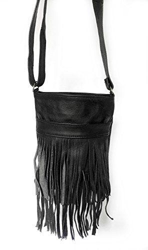 Genuine Black Leather Fringe Purse Bag Crossbody